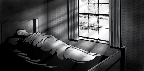 Paul Dienach at the hospital - Illustration