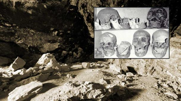 """There are eerie parallels between the legends of the Si-Ti-Cah and the tales of giants who dwelled south of Mount Shasta. Inset: Skulls photographed over 30 years ago by Don Monroe claimed to be giants unearthed from Lovelock Cave."""