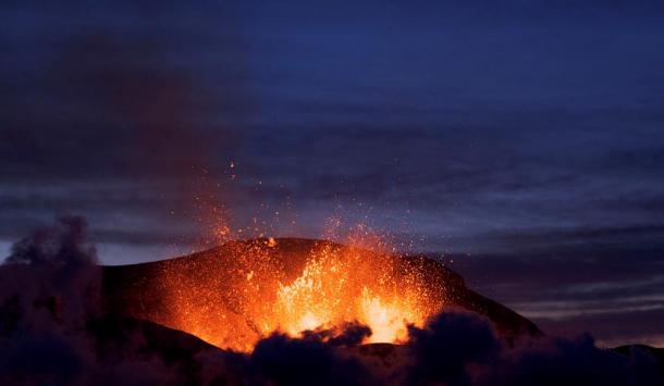 The eruption of Iceland's Fimmvörðuháls in 2010.