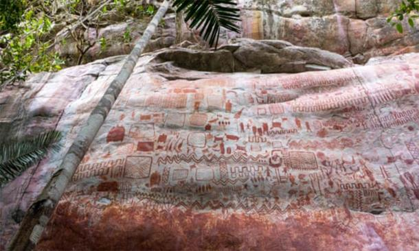 """A cliffside Ice Age Colombian art """"mural,"""" discovered in 2019, that simply boggles the mind in its size and extreme location!    Source: Marie-Claire Thomas / Wild Blue Media Ltd"""
