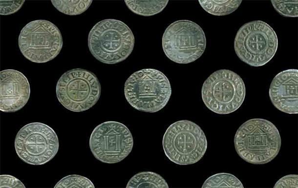 Some of the 118 Carolingian coins in the rare and unusual coin hoard found in northeastern Poland.