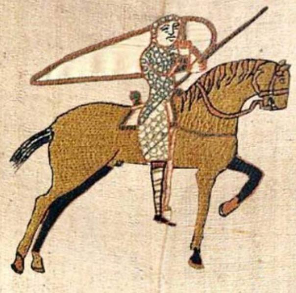 Un caballo de color de oro se ve en el tapiz de Bayeux