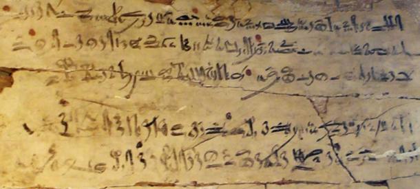Esempio di scrittura ieratica. tablet esercizio con estratto ieratica da 'Le Istruzioni di Amenemhat'. XVIII Dinastia, regno di Amenofi I, c. 1514-1493 aC.