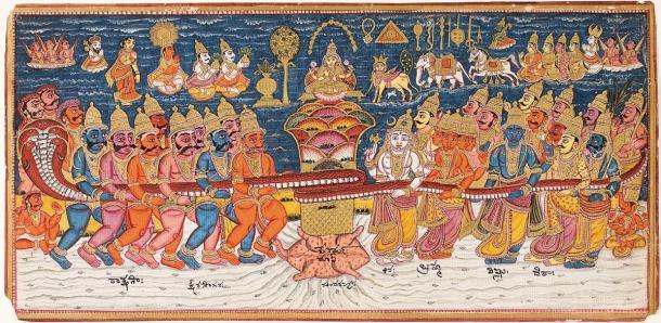 Représentation du «barattage de l'océan de lait», l'élixir de vie de la mythologie hindoue.  (Domaine public)