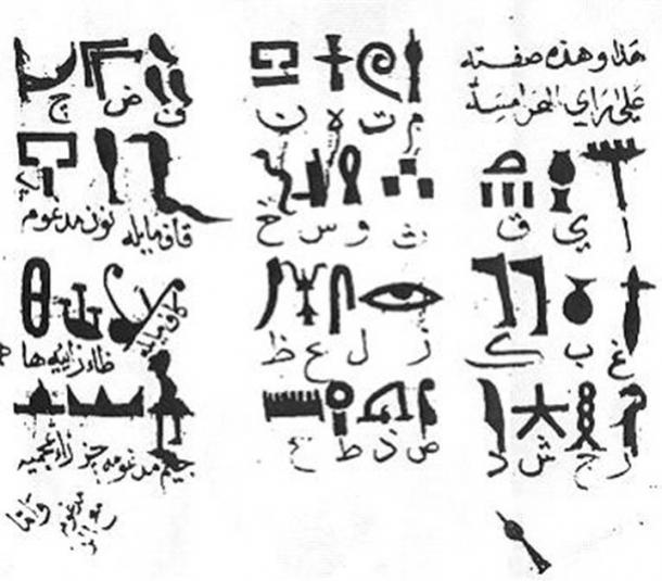 Traduction par Ibn Wahishiya de l'alphabet des hiéroglyphes de l'Égypte ancienne en 985. (Domaine public)