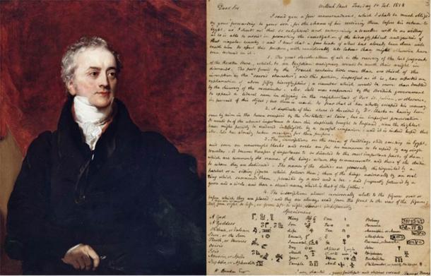 Thomas Young (domaine public) et une lettre qu'il a écrite en 1818 au sujet des hiéroglyphes.  (Administrateurs du British Museum / CC BY NC SA 4.0)