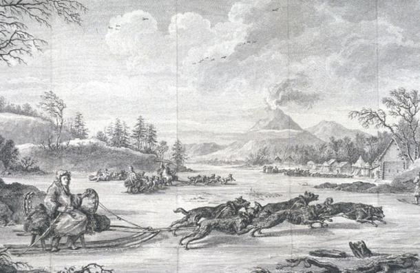 A man rides a dogsled while the team pulls. A volcano, thought to be Tolbachik (Kamchatka), erupts in the background. 1790.