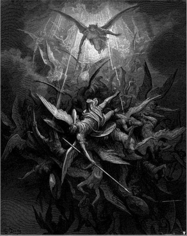 Michael scaccia gli angeli ribelli, da Milton di 'Paradise Lost'.