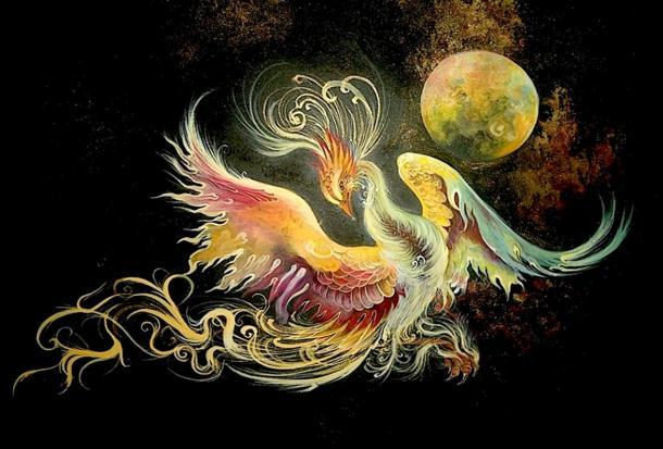 Iranian miniature painting of the mythical bird Simorgh