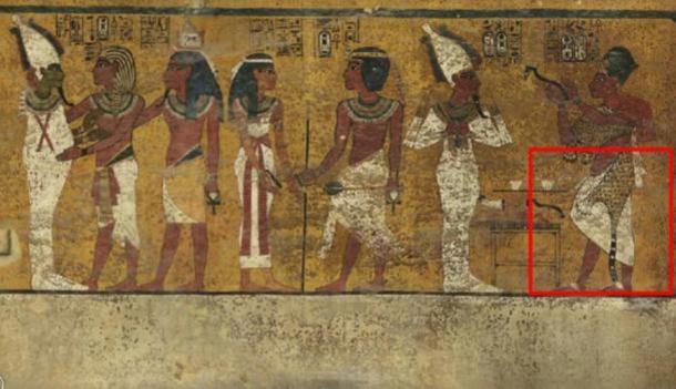 Scansioni della parete nord della camera funeraria del re Tutankhamon hanno rivelato caratteristiche sotto l'intonaco decorato finemente (evidenziata) un ricercatore ritiene possa essere una porta nascosta, forse per la camera sepolcrale di Nefertiti