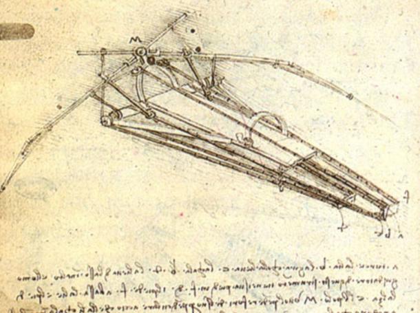 Uno schizzo di Leonardo da Vinci che mostra una delle sue macchine volanti immaginati.