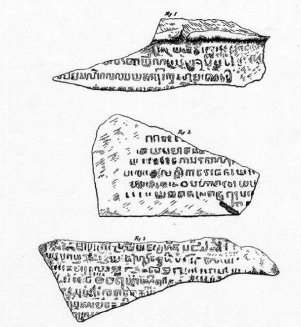 three fragments from the Singapore Stone - La Piedra de Singapur