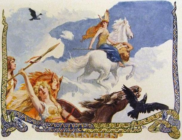 Représentation d'un certain nombre de valkyries chevauchant des chevaux volants tenant le cadavre d'un homme de légende nordique.  (Emil Doepler / Domaine public)