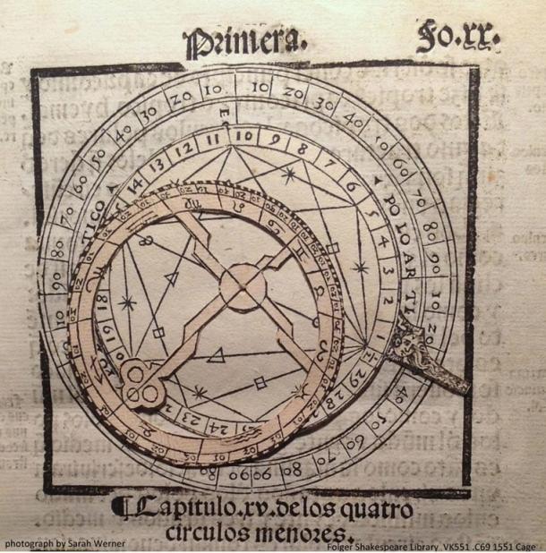 Un volvelle dal libro di Martín Cortés 16 ° secolo Breve compendio de la sphera y de la Aite de navegar, un testo fondamentale per l'esplorazione oceanica.