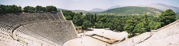 Panoramic view of the Greek theatre at Epidaurus.