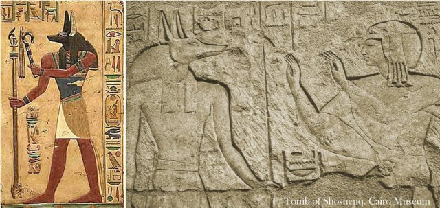 Anubis, depiction in the tomb of Shoshenq