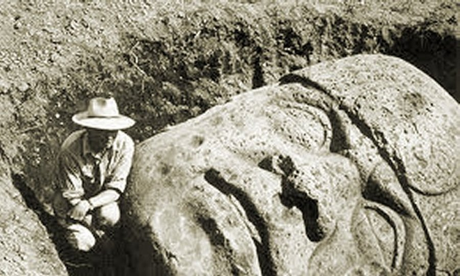 San Lorenzo's Olmec head discovered by M.W. Stirling and his archaeological expedition.