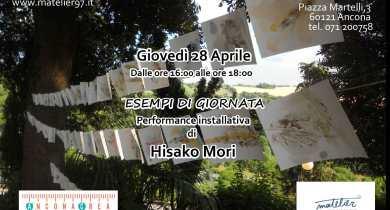 """Hisako Mori in """"Esempi di giornata""""- performance installativa."""