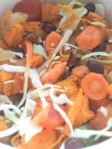 Veggie packed sweet potato black bean slaw bowl