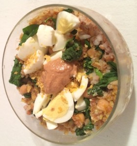 savory spinach, chickpea and egg bulgur bowl