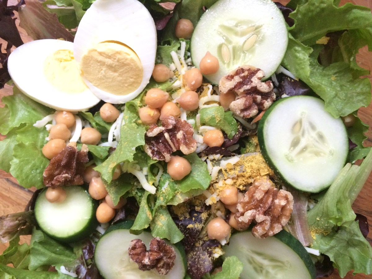 Vegetarian High Protein, Low Carb Chickpea and Walnut Salad