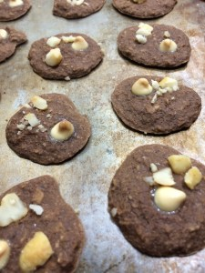 chocolate white chocolate macademia nut protein cookies and a dash of cinnamon