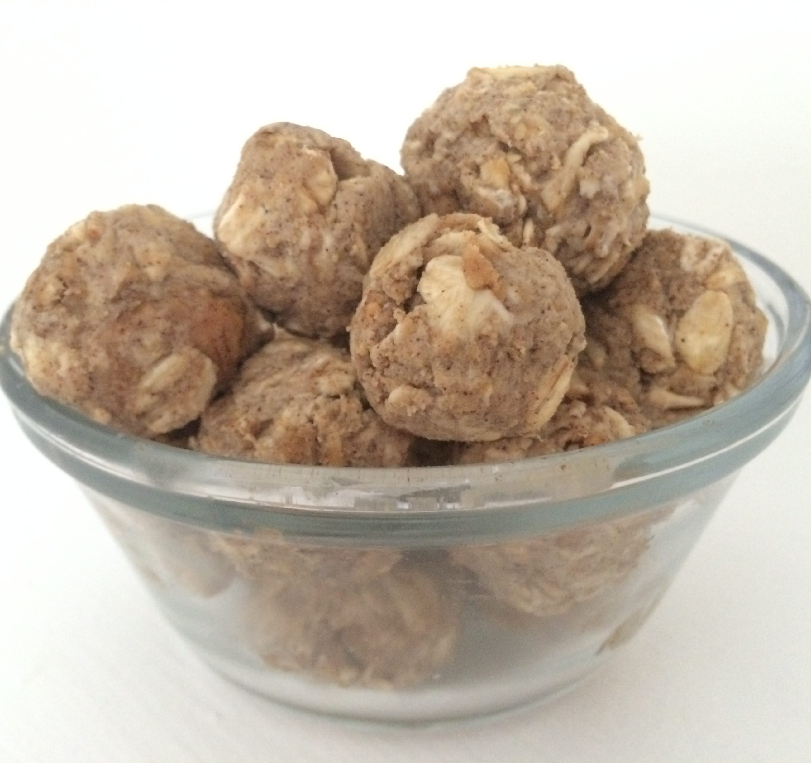 oatmeal peanut butter protein balls and a dash of cinnamon