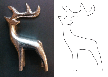 Comparing snapshot of reindeer figurine to simplified outline