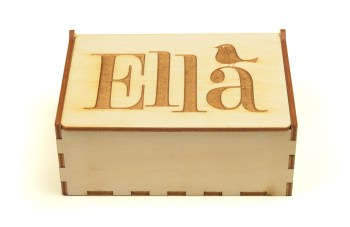 Ella engraved on the top of a wooden box