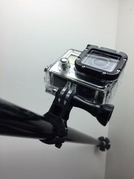 GoPro ski pole mount ready for action