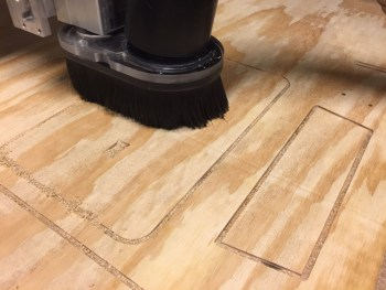 """Part-way through cutting the first stool from the 3/3"""" plywood."""