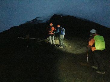 Climbing Tungurahua at night