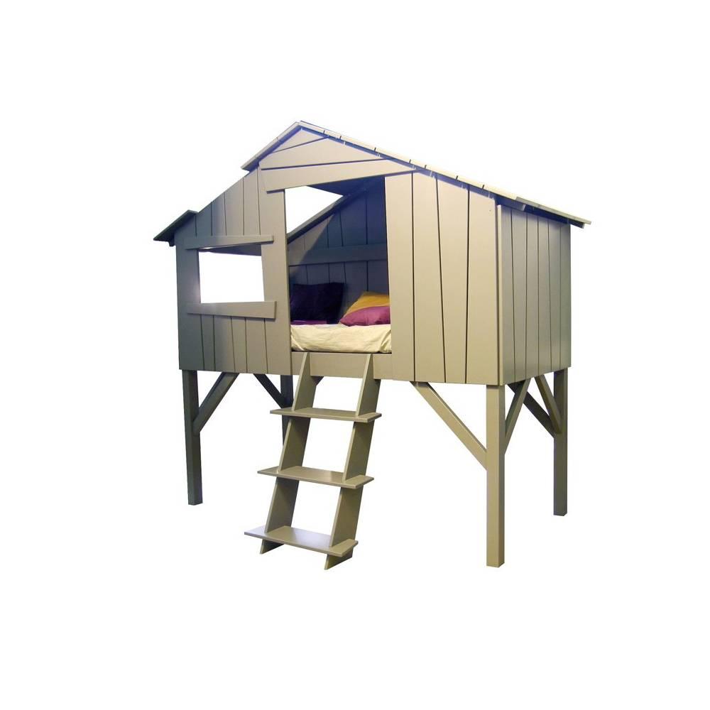 Lit Enfant Cabane En Bois Avec Escalier
