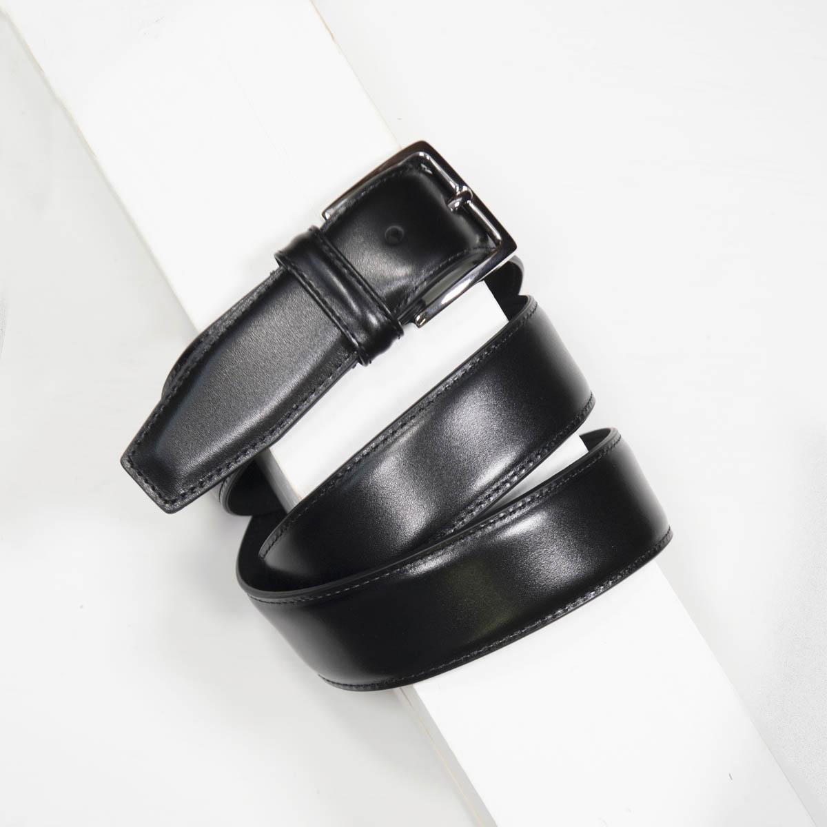3,5 cm CLASSIC BLACK STITCHED BELT