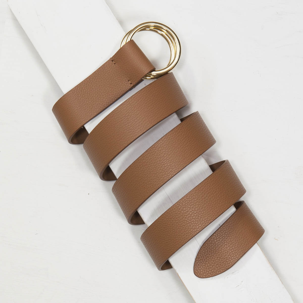 3,5 cm TAN DOUBLE RING GRAINED LEATHER BELT