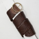 6,5 cm BROWN OVERSIZED WOVEN LEATHER BELT