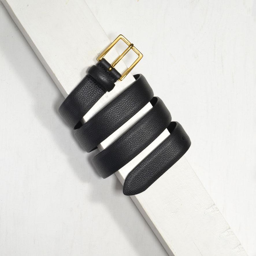 3,0 cm BLACK GRAINED LEATHER BELT