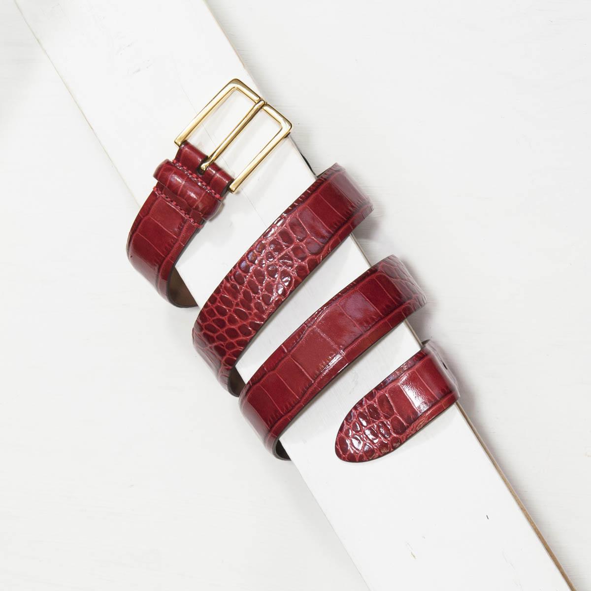 3,0 cm RED MOCK CROC LEATHER BELT