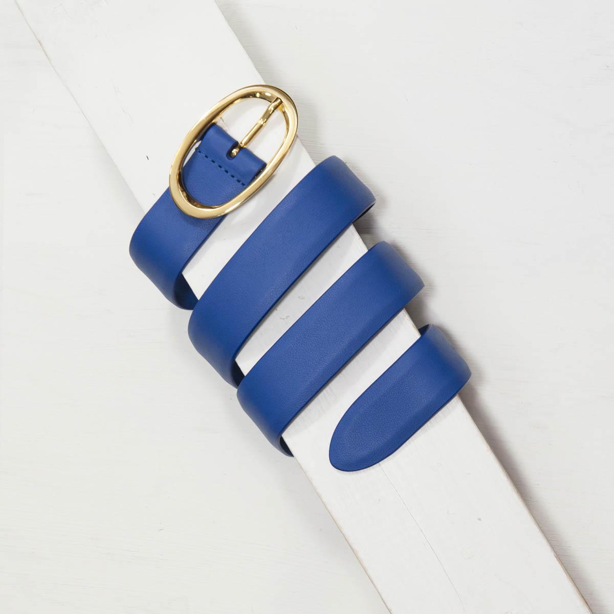 3,0 cm BLUE NAPPA LEATHER BELT