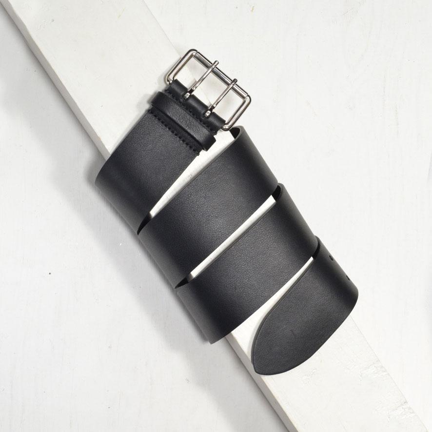 4,5cm BLACK WIDE DOUBLE PRONG BUCKLE BELT
