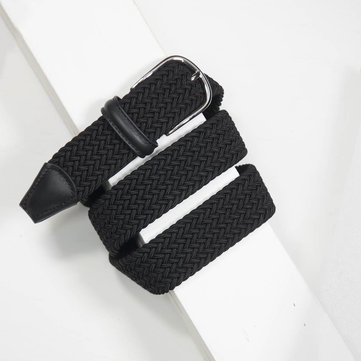 3,5 cm CLASSIC BLACK ELASTIC WOVEN BELT