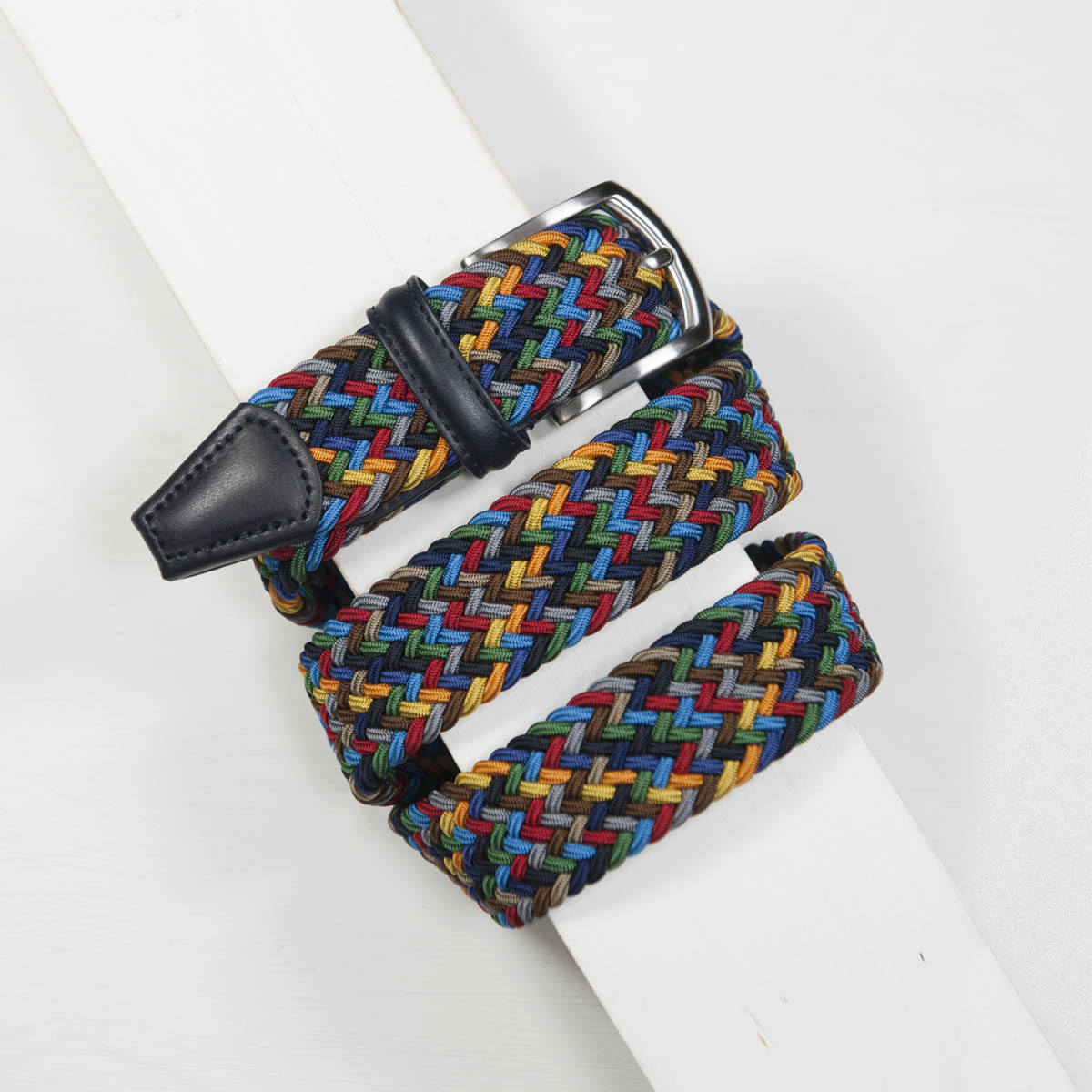 3,5 cm CLASSIC MULTI COLOUR ELASTIC WOVEN BELT NAVY/ORANGE/YELLOW/AQUA/BROWN