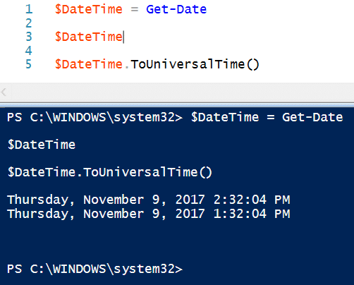 PowerShell Convert to UTC
