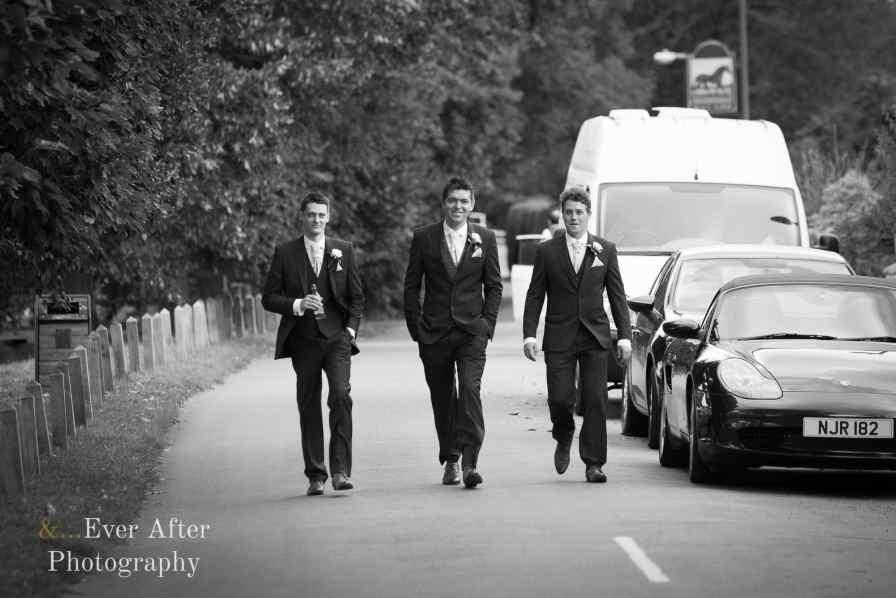 groom, best man, ushers, walk to church