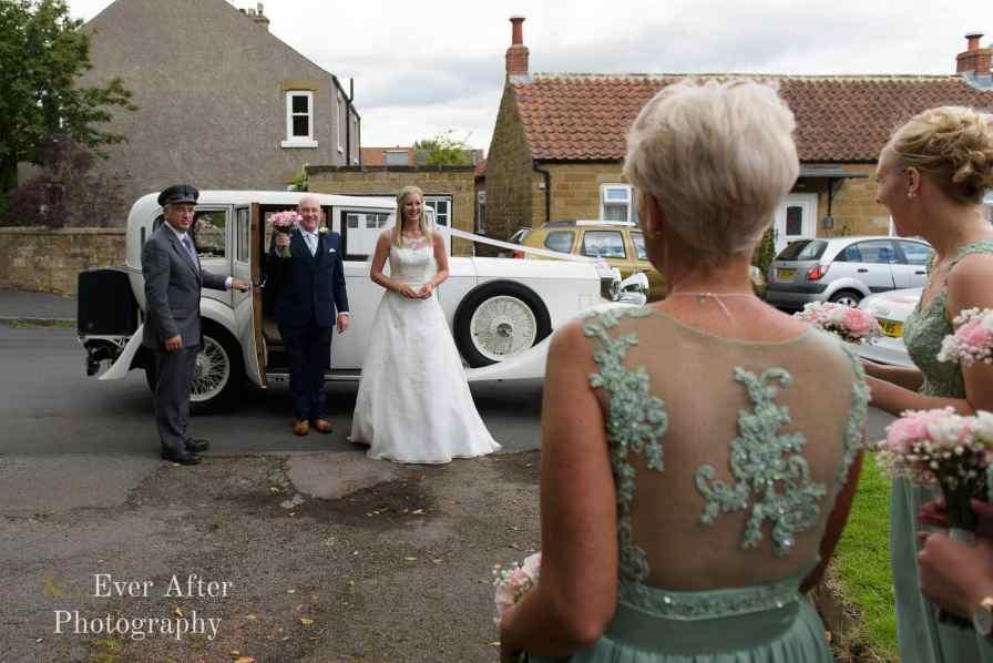 wedding car, bride, father of the bride, wedding flowers, bridesmaids