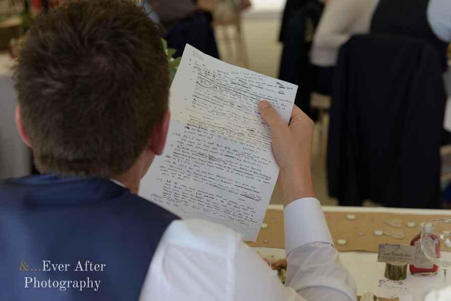 groom, wedding day, speech, notes