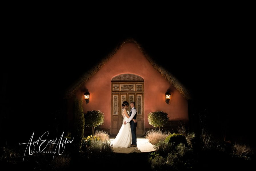 bride and groom at le petit chateau