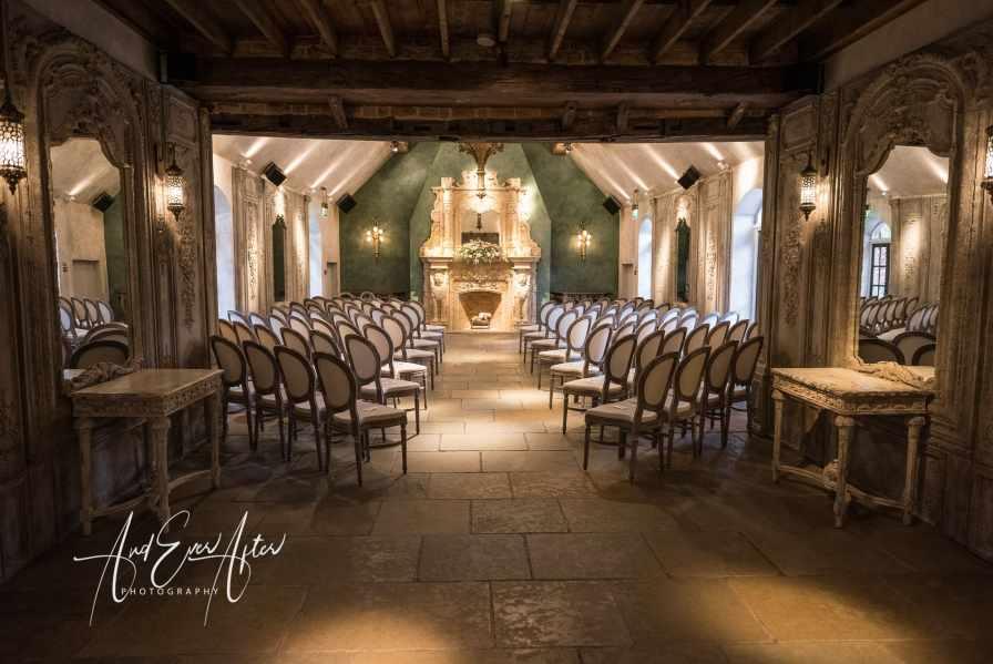 North East Wedding Photographer, Ceremony room, Le Petit Chateau