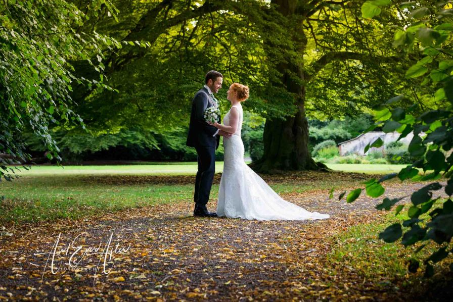 solberge hall wedding, bride and groom, wedding day, gardens