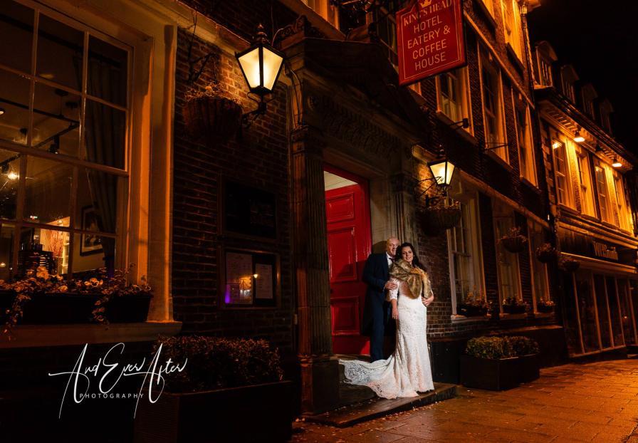 bride and groom stood outside the Kings head Richmond